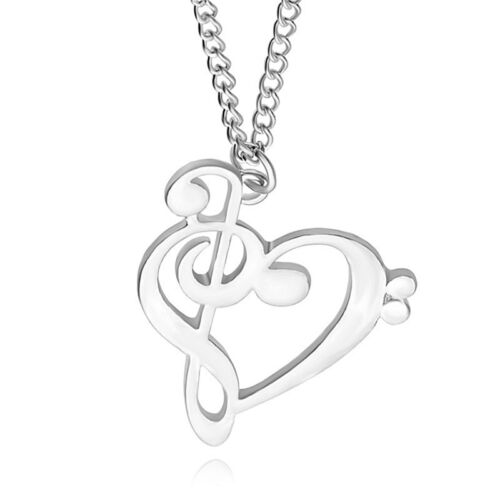 New Love Heart Treble Clef Music Note Elegant Silver Plated Pendant Necklace vbu