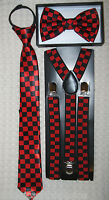 Teens Young Adults Red Checkers Bow Tie,neck Tie & Red Black Checkers Suspenders