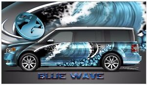 Blue Wave Hibiscus Go Kart Race Car Vinyl Graphic Decal Half Wrap Ebay