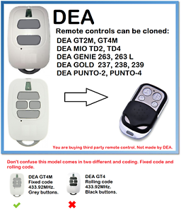 GT4M Universal Remote Control Duplicator 4-Channel 433.92MHz. DEA GT2M