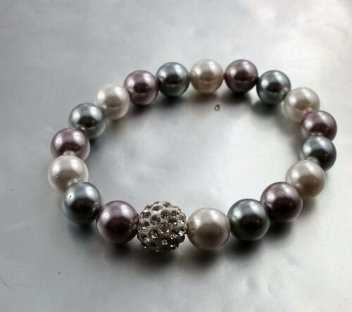 Edle Kunst Perlen Kette oder Armband Silber//weiß//Rose mit Glizer Kugel