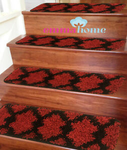 15pc-Soft-Shaggy-NON-SLIP-MACHINE-WASHABLE-Stair-Treads-Mats-Taber-Red-Black
