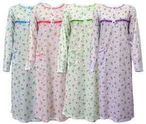 Image is loading Womens-Floral-Nightdress-Pjs-Night-Shirt-Nighty-Cotton- 728102f243