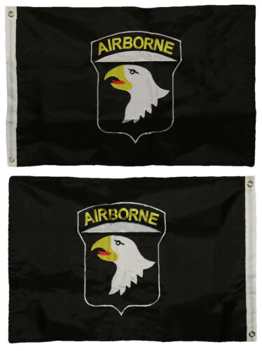 2x3 Embroidered Airborne 101st Division Double Sided 300D Nylon Flag 2 Clips