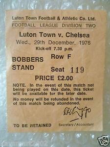 1976 Ticket Luton Town v Chelsea 29th Dec 1976 - ilford, Essex, United Kingdom - 1976 Ticket Luton Town v Chelsea 29th Dec 1976 - ilford, Essex, United Kingdom
