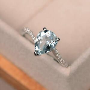 1-70-Ct-Zertifiziert-Natuerlich-Pear-Aquamarin-Diamant-Ehering-14K-Weissgold