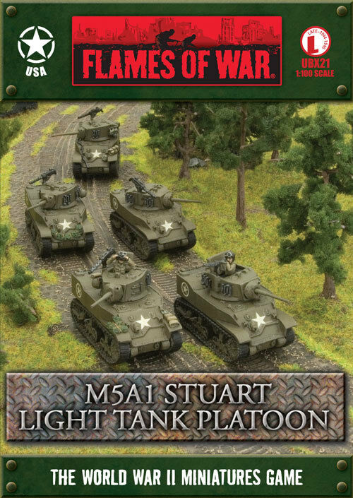 Flames of War M5A1 Stuart Platoon United States Late War Miniatures UBX21
