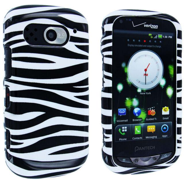 Black White Zebra Design Snap-On Hard Case Cover for Pantech Breakout 8995