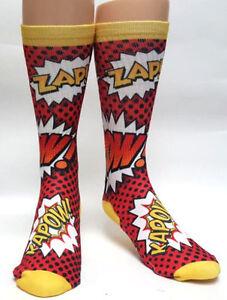 791ec64454dc9 KAPOW KA - POW Comic Mens Novelty Socks Sox Casual Sz 7-13 Dress ...