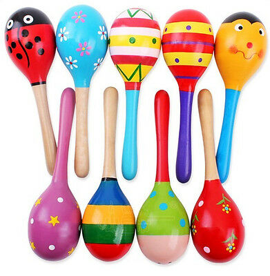 Musical Development Percussion Baby Kid Wooden Ball Rattle Sand Hammer Toy
