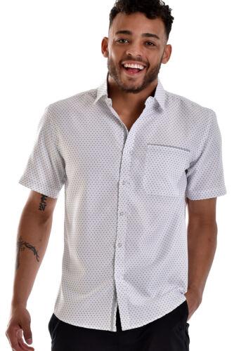 Uomo Bohio Blu Navy Bianco Fantasia a Pois Camicia Casual Manica Corta S ~ XL