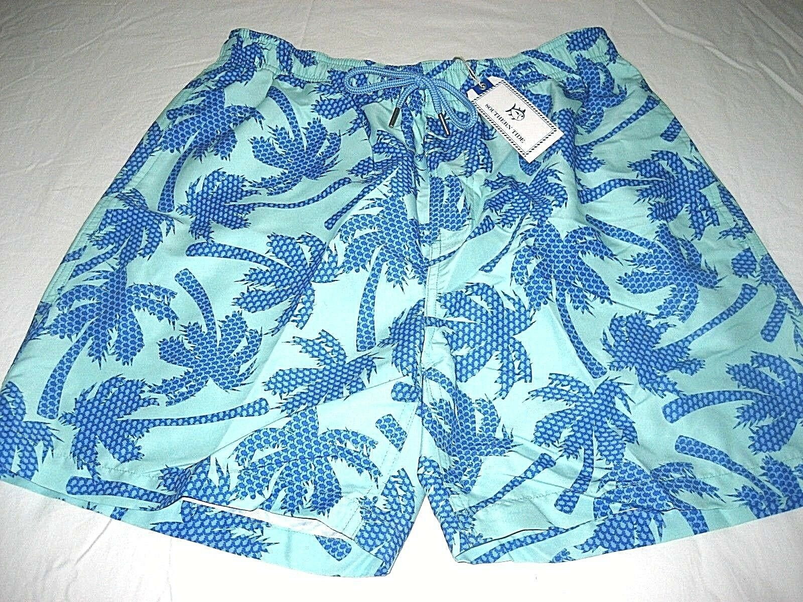 Southern Tide Mens Palm Trees Offshore Green Swim shorts Trunks NWT Ships Free