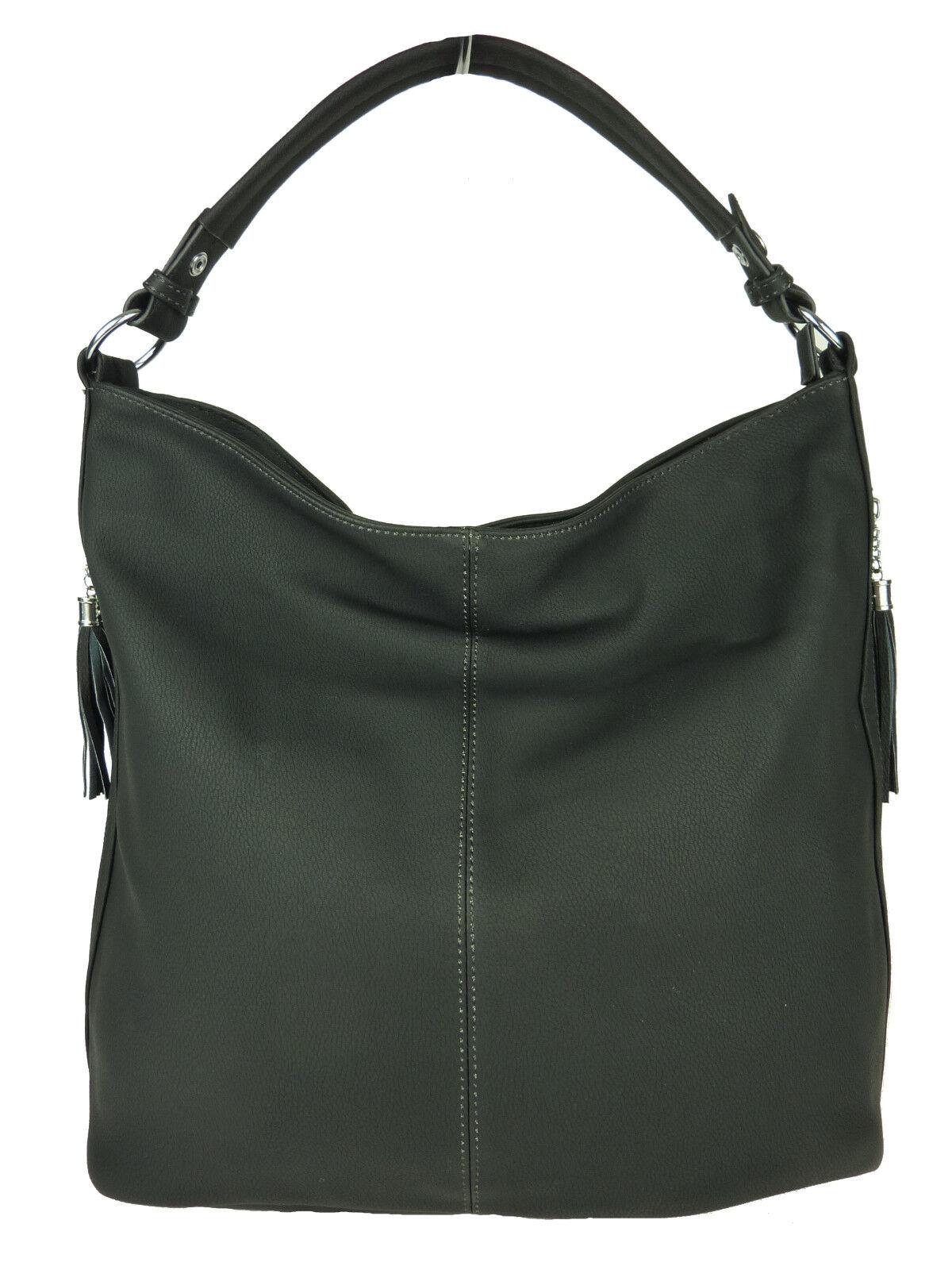 ELLA große Shopper Tasche Leder optik uni Handtasche Tote bag Schultasche 8348