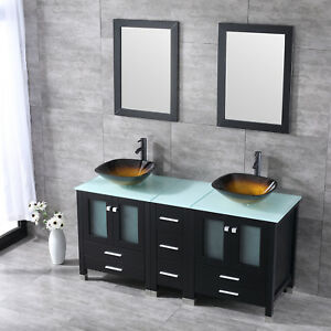 60 double bathroom glass vanity cabinet square sink with - Bathroom vanity and mirror combo ...