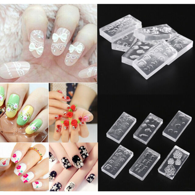 6pcs Silicone Durable 3D Acrylic Mold for Nail Art DIY Decoration Accessorie  WA