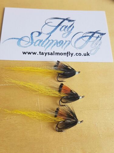 3x Tritton crevettes-jaune Taille 12 DOUBLE hook salmon Fishing Flies