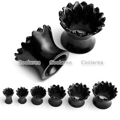 """4g-9/16"""" Black Stainless Steel Lotus Flower Hollow Ear Tunnel Plugs Earlet Gauge"""