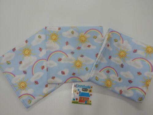 Eructo paños Arco Iris Sol Azul 3 Pack toalla con respaldo Gran Idea De Regalo!!!