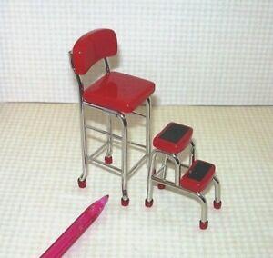 Miniature-Red-Chrome-Kitchen-Stool-w-Steps-DOLLHOUSE-Miniatures-1-12-Scale