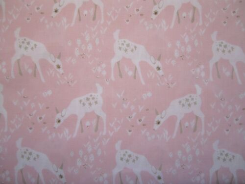 Woodland Gathering young deer//bambi on pink 100/% cotton fabric from Clothworks