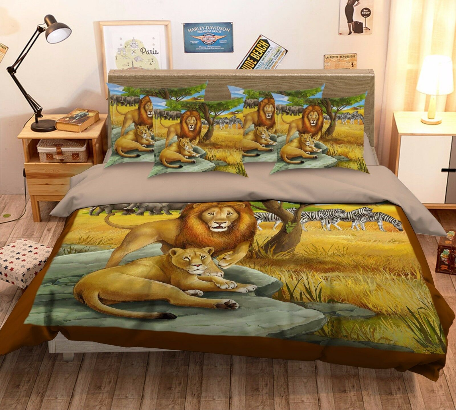 3D Lion Zebra Grassland 46 Bed Pillowcases Quilt Duvet Cover Set Single Queen CA
