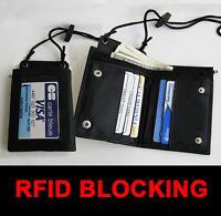 Black Rfid Blocking Leather Wallet Id Badge Window Card Holder Zip Neck Strap