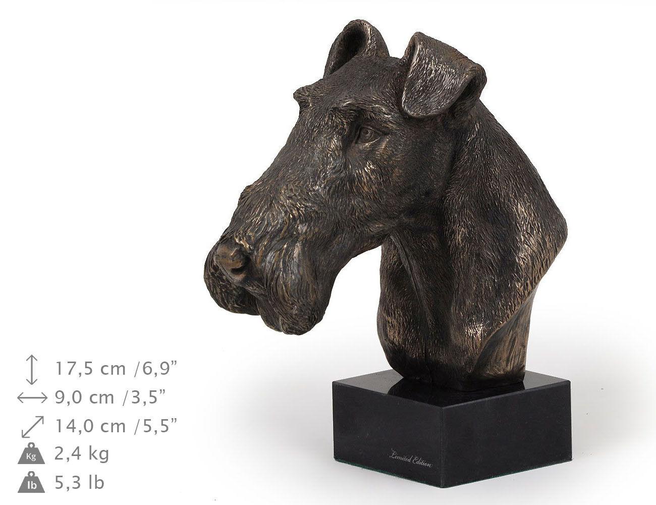 Fox Terrier, estatua de mármol   busto de perro KunstHund, edición limitada ES