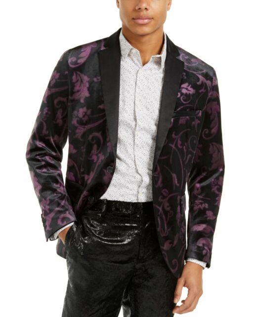 INC Mens Blazer Black Size 2XL Velvet Floral Print Two-Button Slim Fit $149 #152
