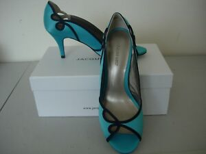 Peep turquoise Shoes new Toe 6 Size Vert navy Jacques A1Iw5qT