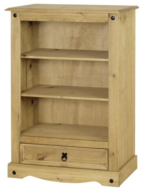 Corona 1 Drawer Low Bookcase - Mexican Solid Pine, Rustic, Distressed