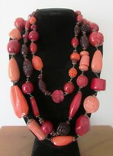 Vintage Chinese Style Plastic Bead Necklace Cherry Amber Cinnabar Roses Coral !