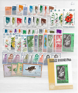 1966-MNH-Indonesia-year-complete-except-for-block-Michel-block-5