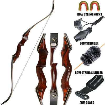 """50lb 58/"""" Hunting Recurve Bow Right Hand Archery Takedown Laminated Limbs Longbow"""