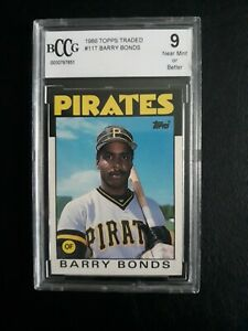 1986 TOPPS TRADED BARRY BONDS RC ROOKIE CARD #11T GRADED BCCG 9 PIRATES GIANTS