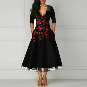 Details zu Damen Sommerkleid Kleid Rockabilly Petticoat Retro 50er 60er Jahre Vintage Party
