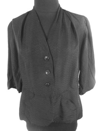 FRENCH 1940'S BLACK RAYON UNLINED FITTED JACKET