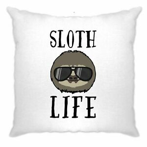 Novelty-Animal-Cushion-Cover-Sloth-Life-Pun-Slogan-Joke-Lazy-Sleepy-Cute