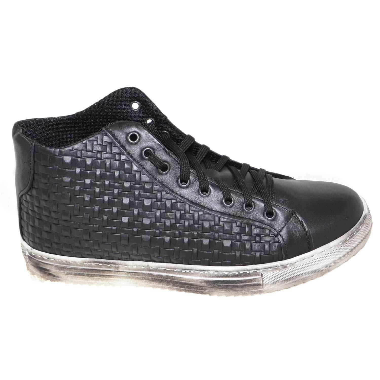 acquista la qualità autentica al 100% scarpe da ginnastica alta uomo art.332 made made made in italy nera intrecciata moda fondo effetto spo  spedizione veloce e miglior servizio