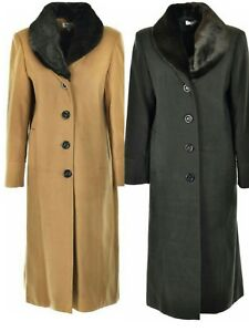 6b201ff8de0 LADIES NEW WINTER WARM FUR COLLAR LONG COAT UK MADE SIZE 14 16 18 20 ...