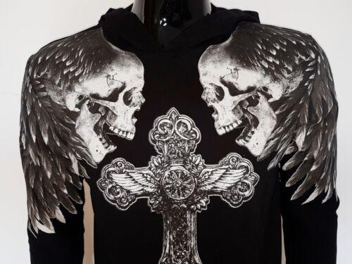 felpa uomo cappuccio 100/% cotone leggero piuma croce teschio skull grigio nero