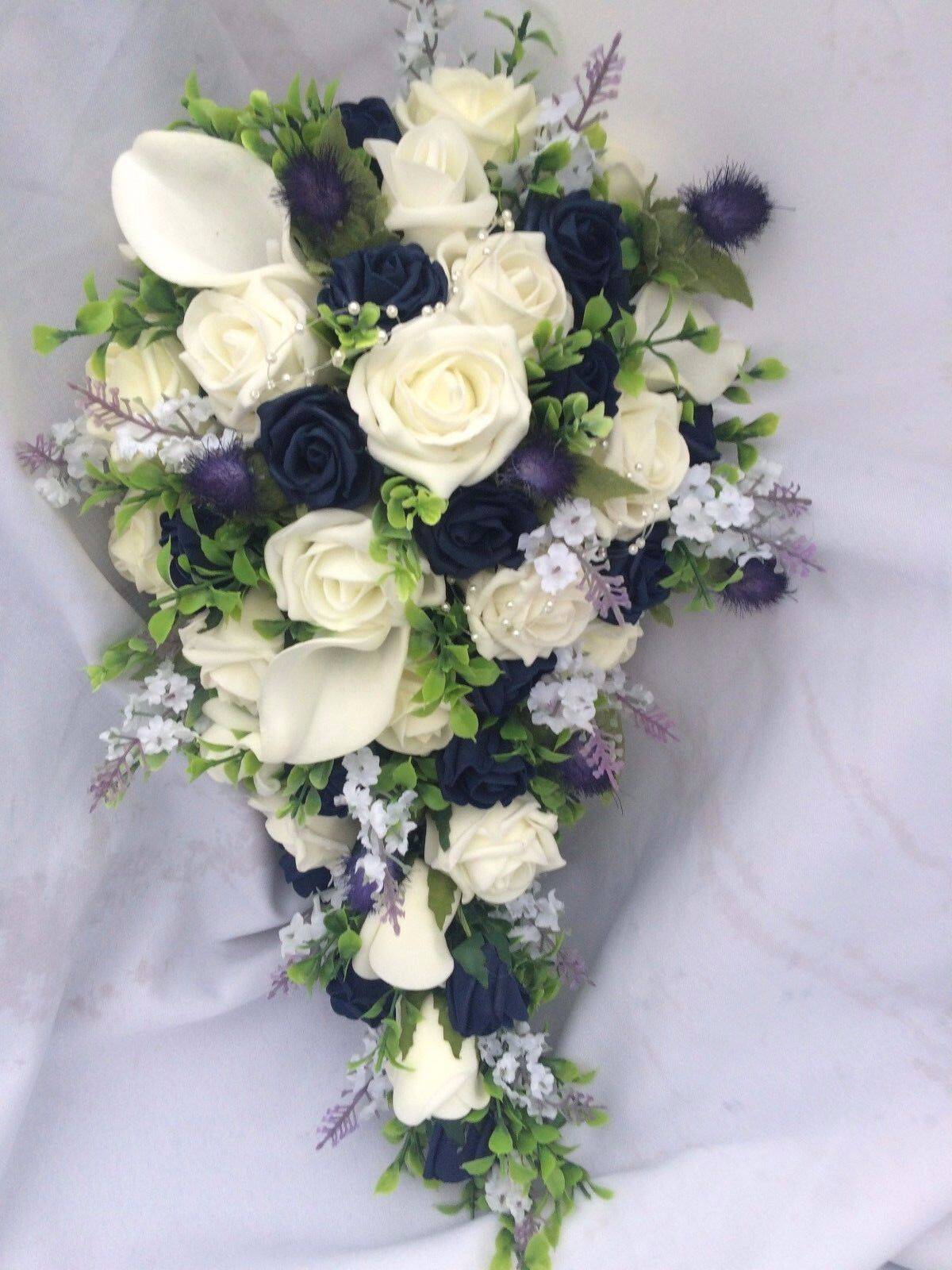 Scottish Wedding Flowers Bride's Bouquet Thistles, Lavender, Calla ,Ivory & Navy