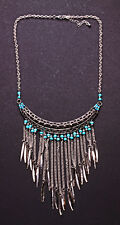 Persian Princess tassle & spike silver statement necklace turquoise detail(NS5)
