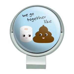 Details about Toilet Paper and Poop Emoji Friends Golf Hat Clip With  Magnetic Ball Marker