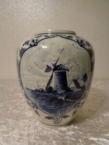 Ceramica-Vaso-Holland-Dipinti-Mano-Altezza-21-cm-Mulino-a-Vento