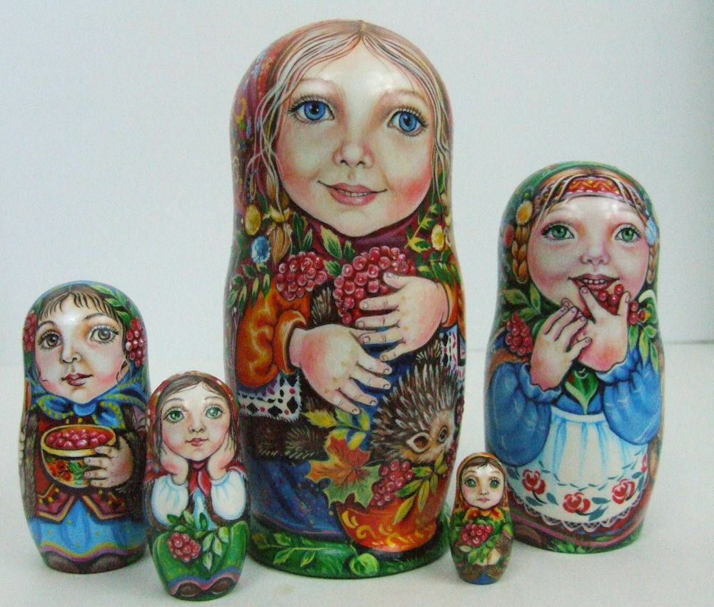 5pcs Pintado a Mano Only One Muñecos-caja Rusos   Niñas Enjoy Frutas  ,