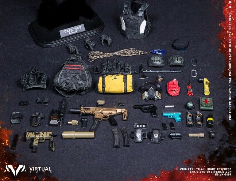 1 6 VIRTUAL TOYS VTS DARKZONE TRACY FULL SET OF ACCESSORIES & WEAPONS  - NEW