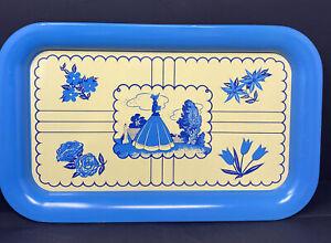Vintage Tin Serving Tray Platter Retro Blue White Floral Woman Settler Landscape