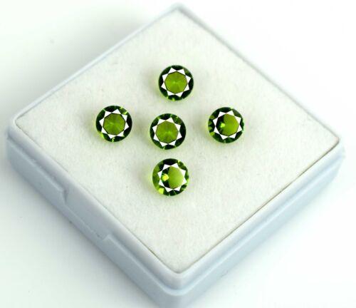 Natural Round 3.15 Carat Olive Green Peridot Gemstone Lot 5 Pcs AGSL Certified