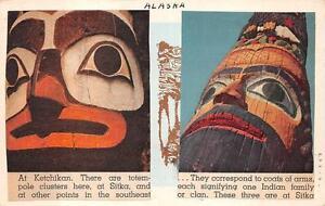 TOTEM-POLES-SITKA-amp-KETCHIKAN-ALASKA-NOVELTY-ADD-ON-POSTCARD-1948
