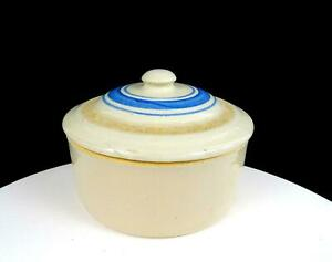 "ANTIQUE CREAM WARE POTTERY BLUE BANDED LID 4 1/2"" BUTTER CROCK"